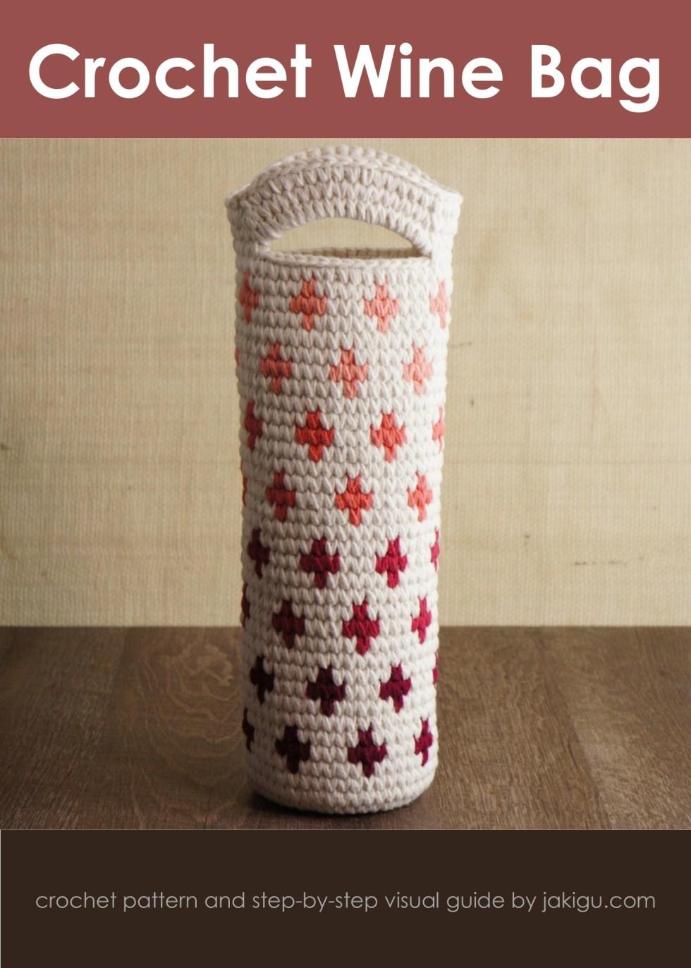 Wine gift bag, crochet pattern by jakigu.com