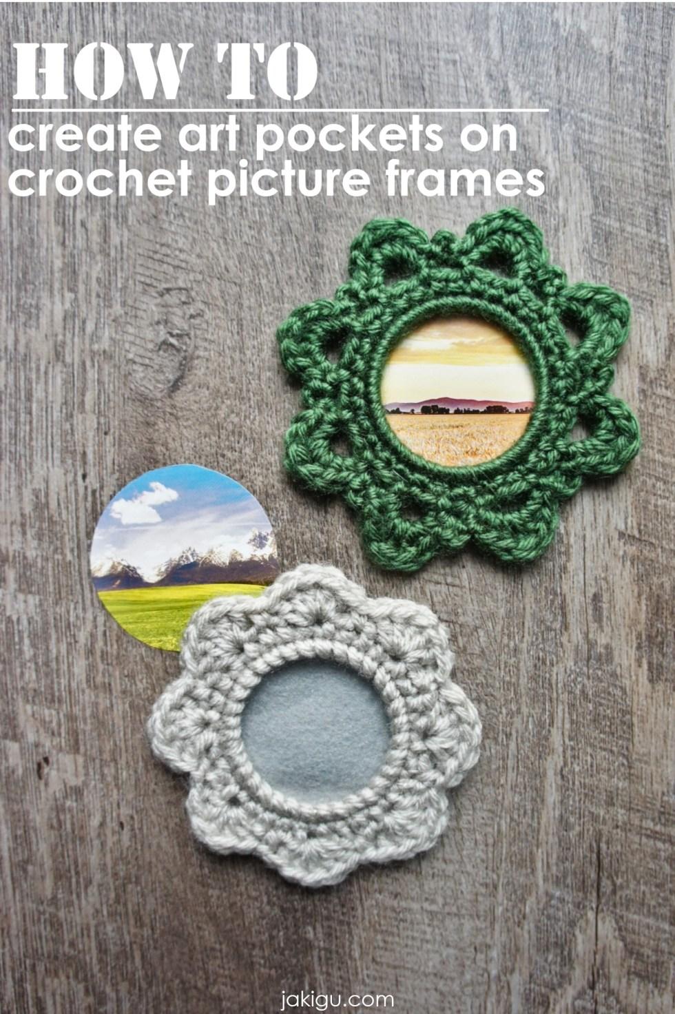 How to create art pockets on crochet picture frames | jakigu.com