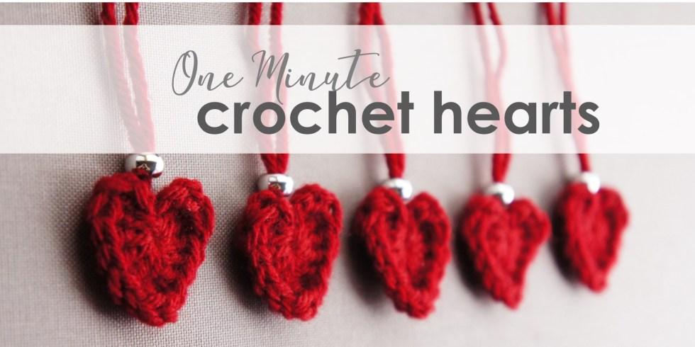 One minute crochet hearts | jakigu.com crochet pattern