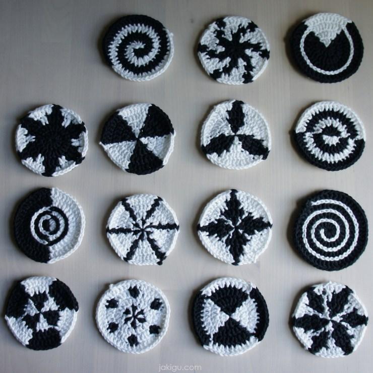 jakigu.com | black and white crochet motifs