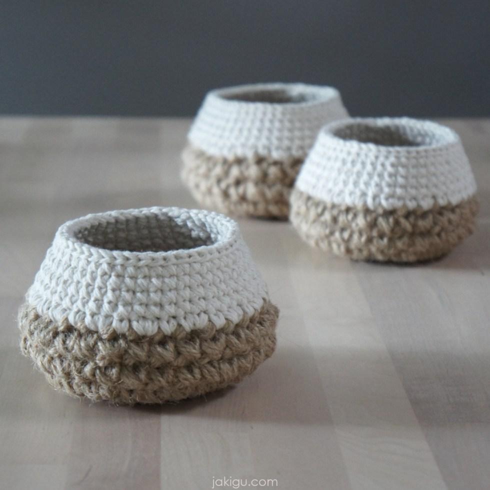 jakigu.com| chubby jute and cotton crochet basket