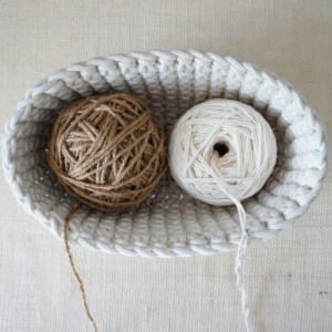 cotton bowl with yarn