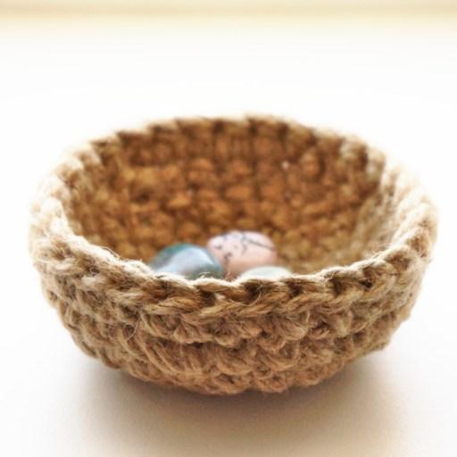 tiny crochet bowl with gemstones