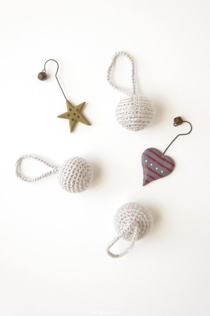 silver crochet baubles