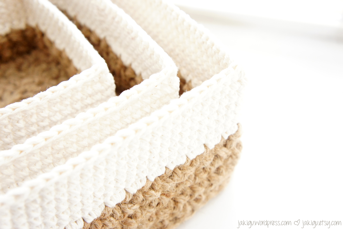 crochet pattern: square jute and cotton stacking baskets