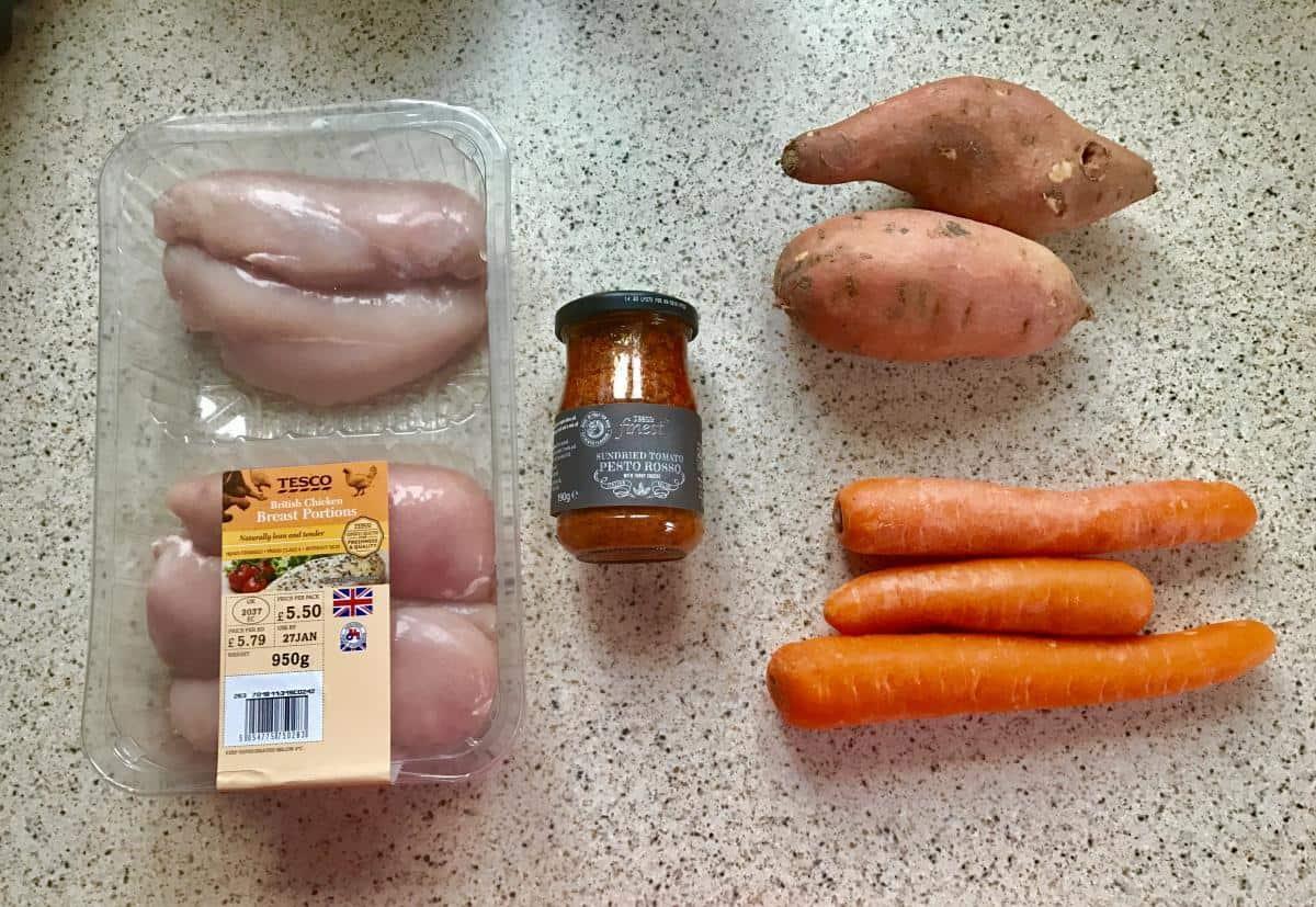Sweet potato noodles and tomato pesto chicken ingredients