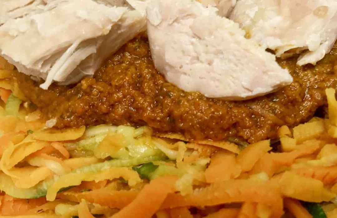 Sweet potato noodles with tomato pesto chicken