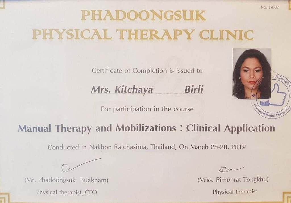 Zertifikat für Physiotherapie