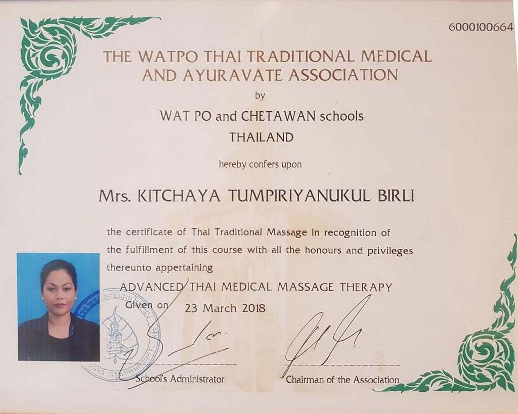 Zertifikat medizinische Massage Therapie