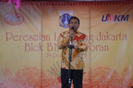 Sekretaris Daerah DKI Jakrta saat memberikan sambutan di acara peresmian Lenggang Jakarta Kawasan Kemayoran. (Sigit Artpro)