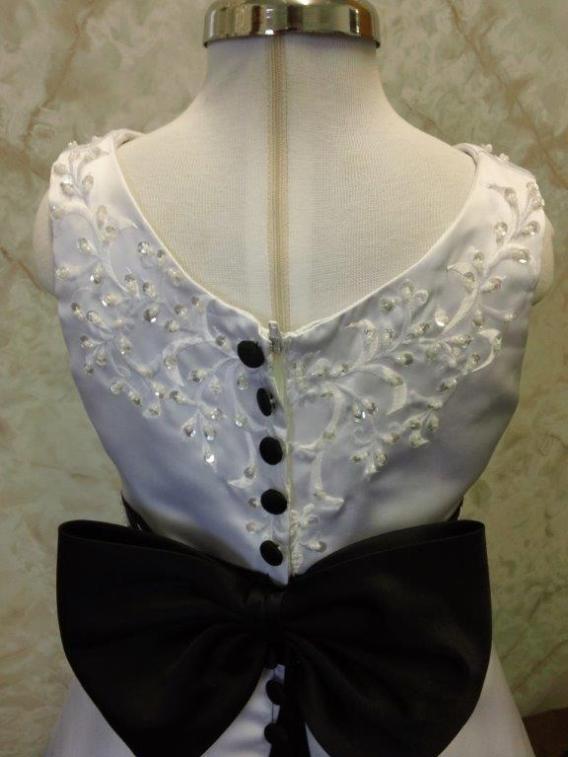 white and black flower girl dresses