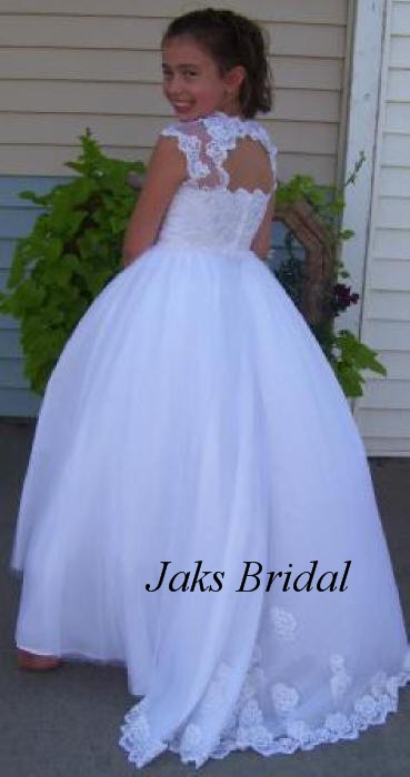 Lace junior bride dress features an open back with lace train white lace dress with train mightylinksfo