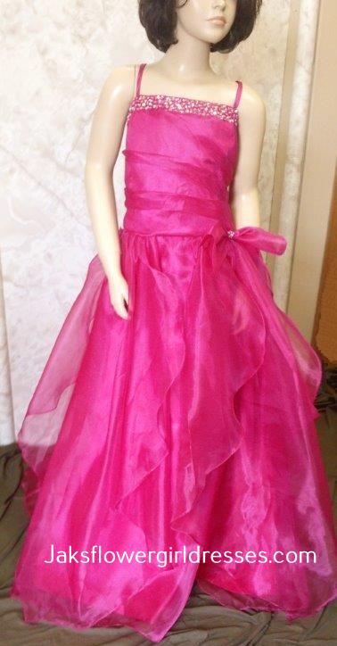 bc3d7d0ac35 Fuchsia floor length flower girl dresses for this summers wedding.