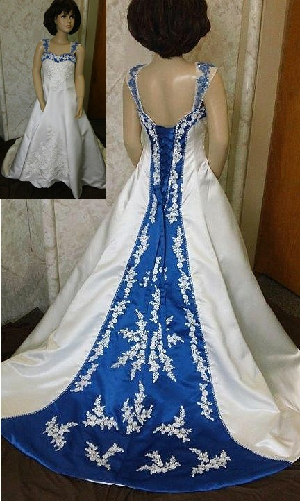 b8267db0db ivory and royal blue flower girl dress