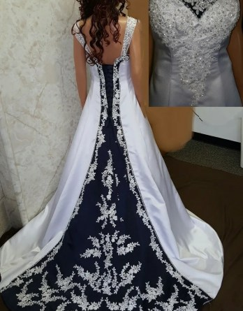 navy blue and white wedding gown available in all shades of blue