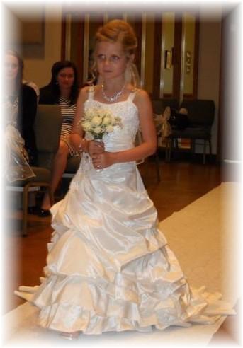Flower girl wedding dresses with pick up skirt. Ivory taffeta flower ...