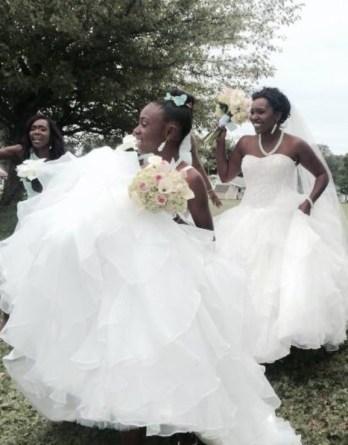 matching mother daughter ruffle wedding dresses