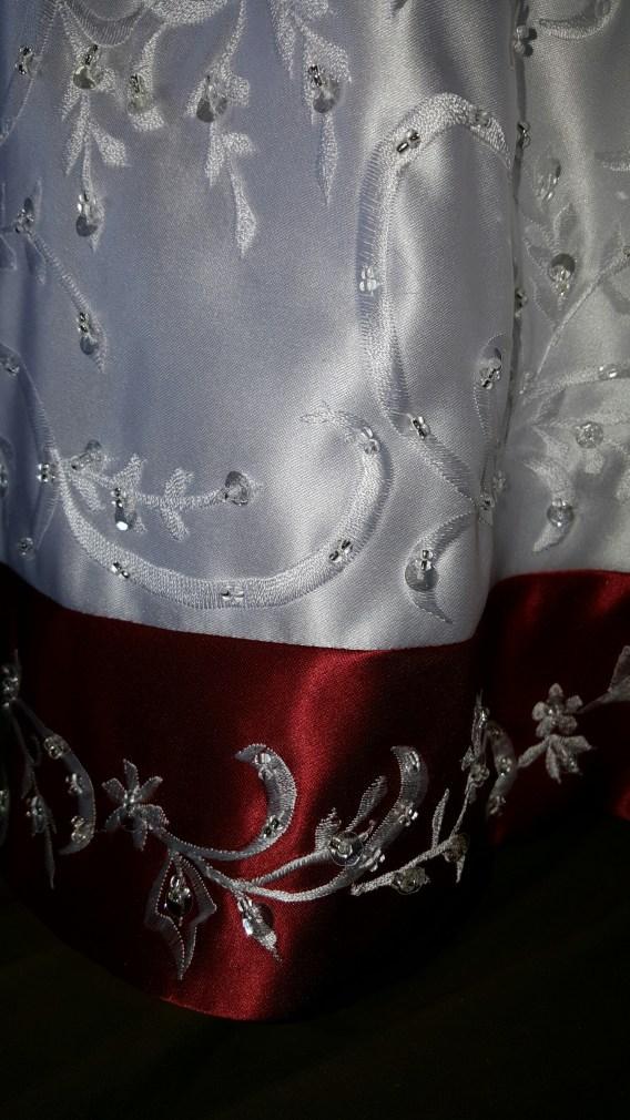 white and apple red flower girl wedding dress