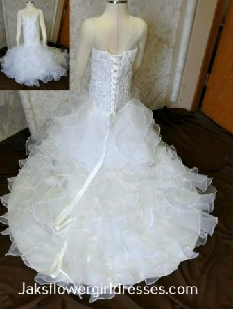 Toddler mermaid dress with ruffle skirt and train. Sweetheart beaded lace bodice. Made to match this brides dress.