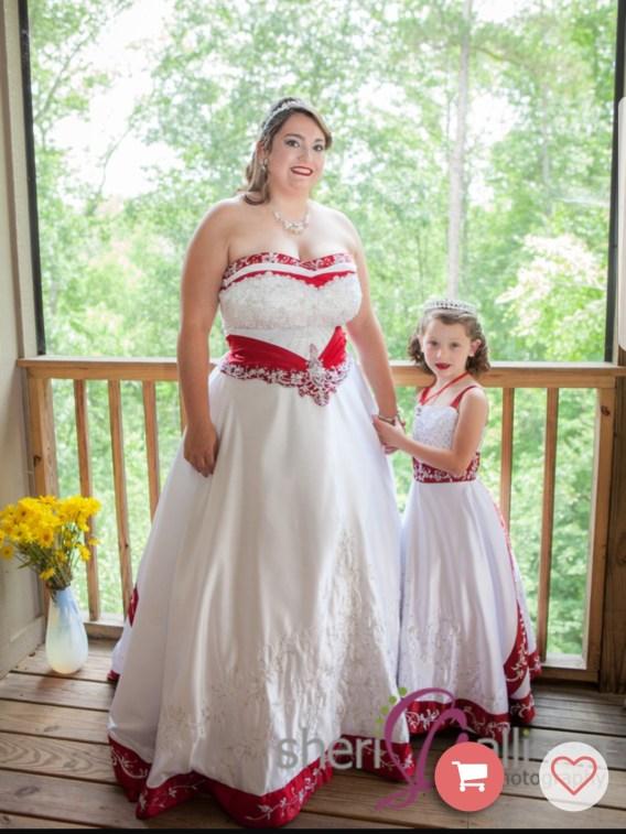 white and apple red flower girl wedding dresses
