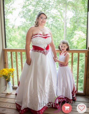 white and apple red flower girl wedding dresses