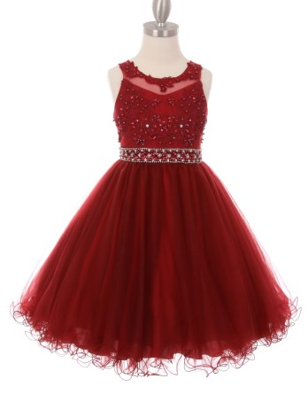 Little girl party dresses. Rhinestone pearl beaded lace top, wired mesh short dress. Tween party dresses for girls 4-16.