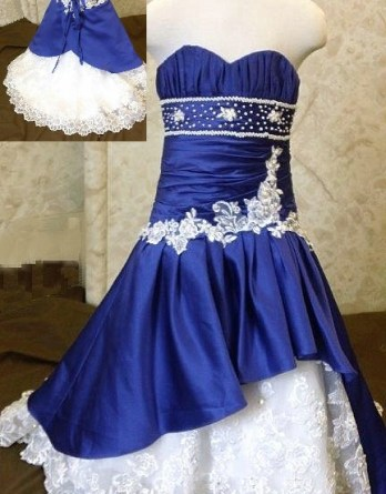 Blue and white mermaid flower girl dresses.