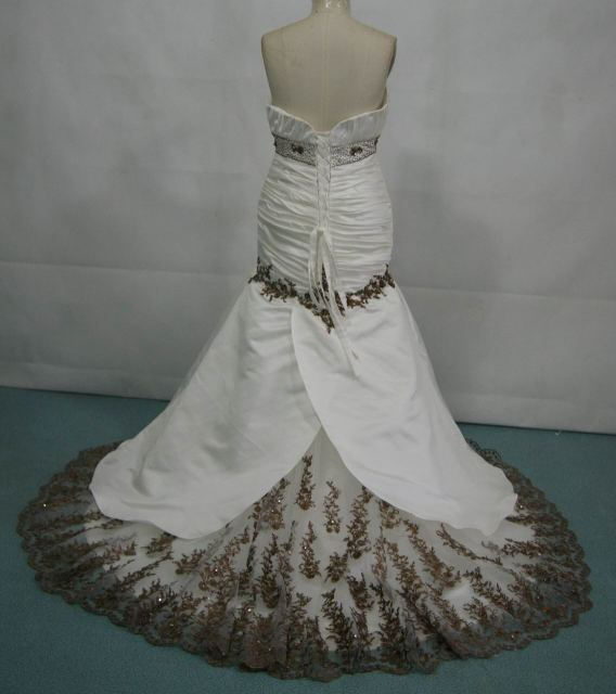 ivory and chocolate mermaid dress