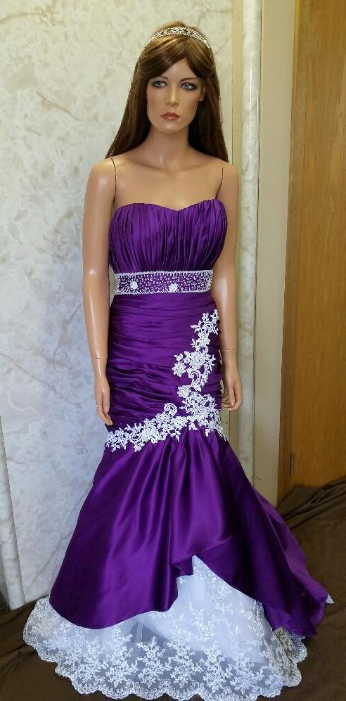 purple mermaid dresses for Dr J wedding