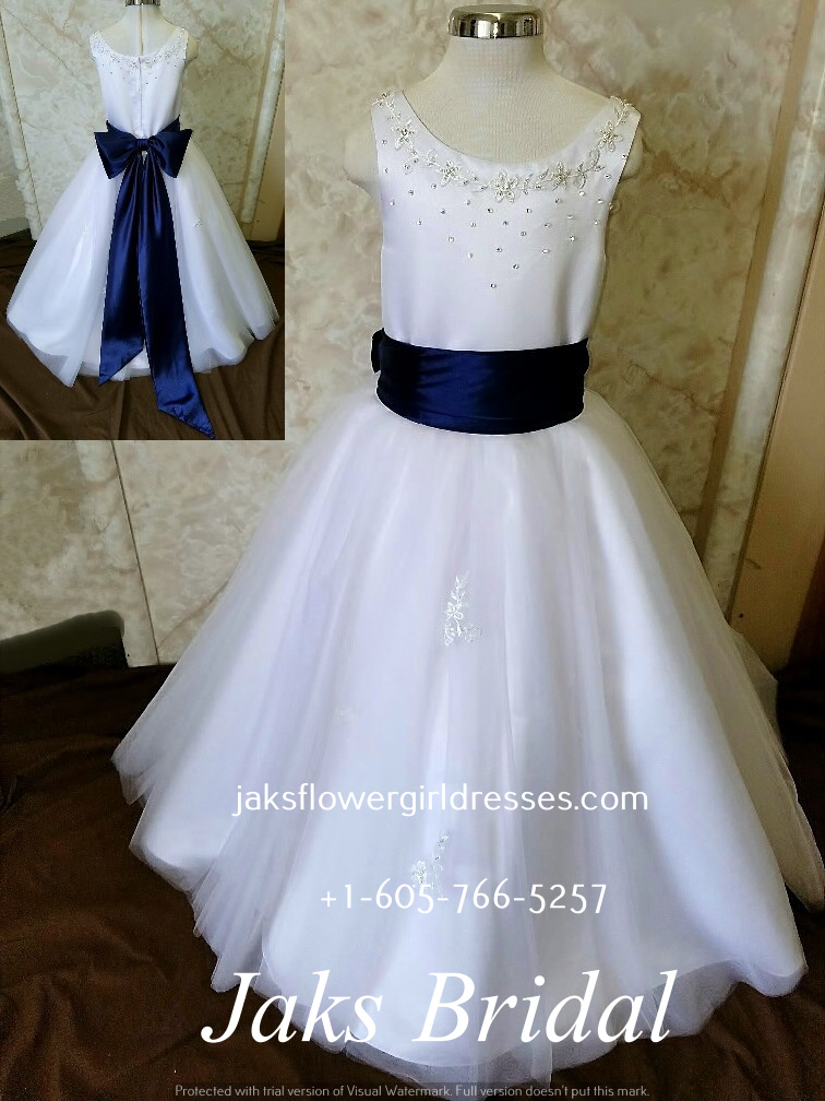 f4380ed29 Flower girl dresses with blue sash. Simple flower girl dresses for ...