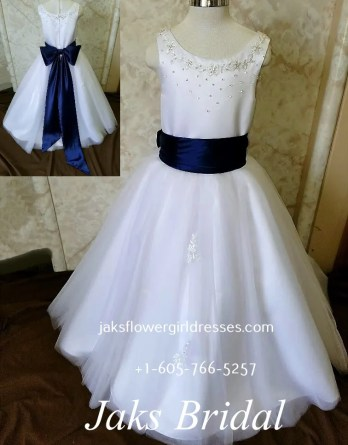 flower girl dresses with blue sash