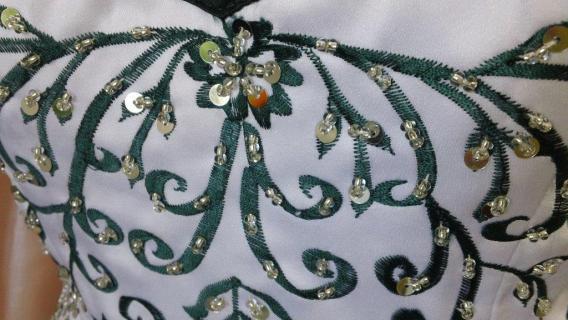 white and green wedding dress