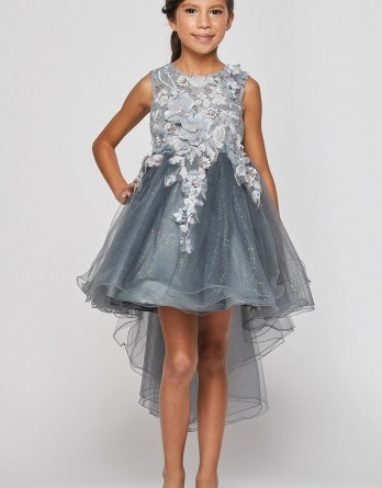 Girls hi low dresses are heading to the parties. Sleeveless, hi low dress with 3D floral bodice, and sheer tulle train.