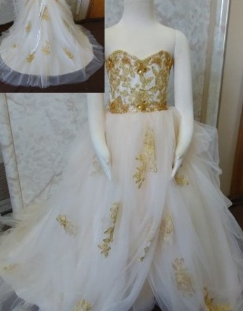 Gold lace flower girl dress