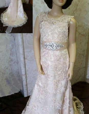 lace miniature bride dress with sash