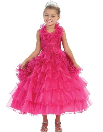 Girls ball gown dresses with halter neck and ruffle skirt