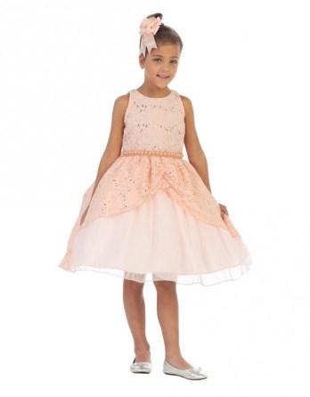 little girls sequin dresses in peach.