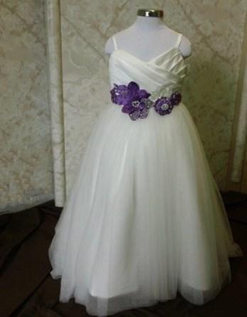 purple and white flower girl dresses