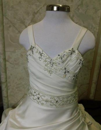 Flower girl dress with crystal beading.
