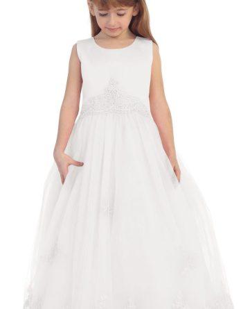Long white girls sleeveless dresses