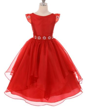 red sparkle flower girl dress
