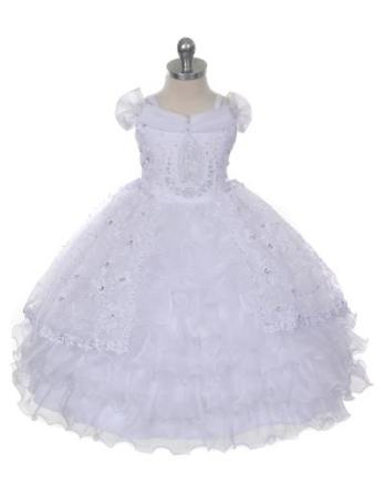 Baby girl christening dresses with Virgin Mary embroidered on the bodice