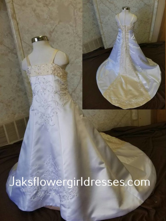 White and yellow flower girl dress sale, clearance priced at $100.
