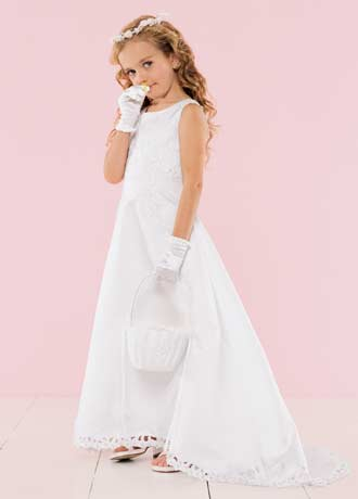 0dcbe909d8c Inexpensive girls long flower girl dresses in Ivory or White on clearance  sale for  40
