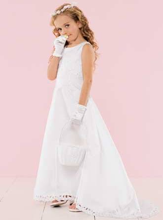 Inexpensive girls long flower girl dresses in Ivory or White on clearance sale for $40