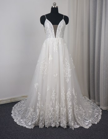 lace spaghetti strap wedding dress