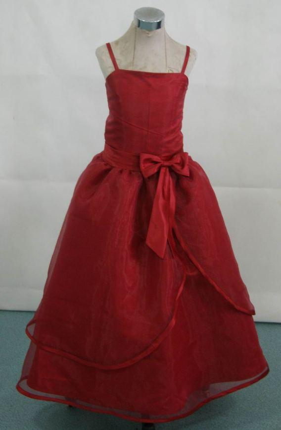 Spaghetti Strap Dresses for flower girls and junior bridesmaid Dresses. Tea length red dresses.