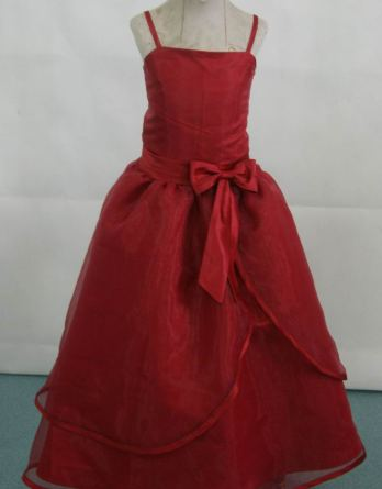 Spaghetti Strap Dresses for flower girls and junior bridesmaid Dresses. Tea length red dresses.