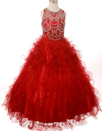 rhinestone bodice red pageant dress
