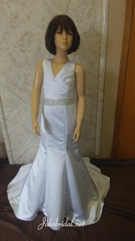 Flower girl dress with silver beaded sash.